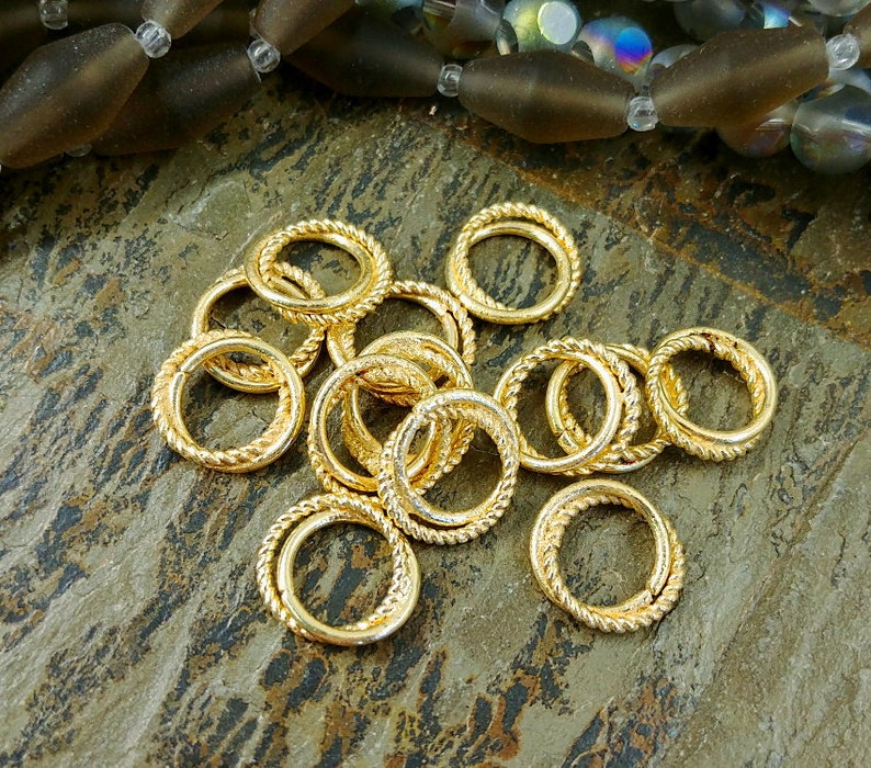 12mm Love Knots Brushed Metal Collection Brass Closed Rings Gold Plated Priced per piece