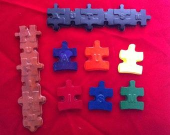 Autism puzzle crayons