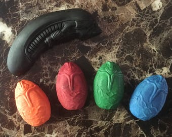 Solid color Alien and Egg Crayons