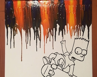 Troublemaker Bart melted crayon painting