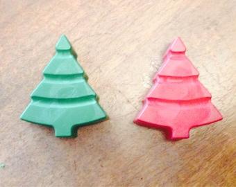 Tiny Christmas tree crayon set up two