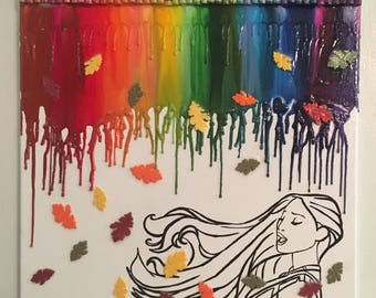 Colors of the wind Pocahontas melted crayon art painting