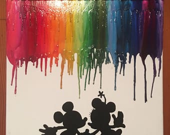 Love couple Mickey and Minnie melted crayon painting