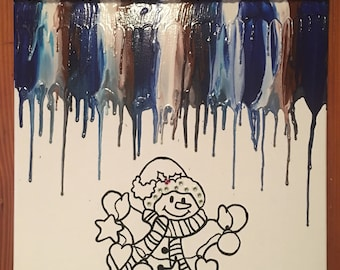 Frosty snowman melted crayon painting