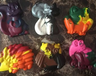 Multicolored forest friend crayons