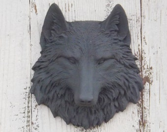 CLEARANCE,Wolf Head,Wolf Decor,Native American Deco ,Wolf Wall Sculpture,Faux Animal Head