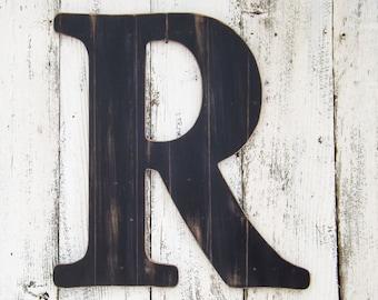 24 ex large letter black faux wood plank finishletters azlarge wall letterletter r