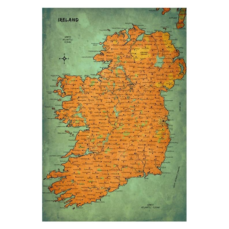 Free Shipping Travel Art Handmade Leather Photo Album IRELAND Map 15G