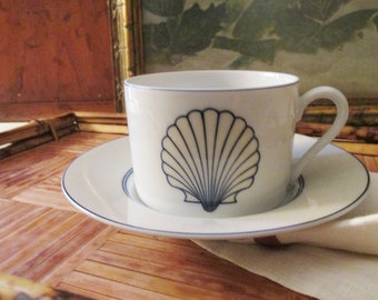 """Vintage Fitz and Floyd """"Nobilis"""" Teacup and Saucer, Chic Clam Shell China, Palm Beach Decor"""