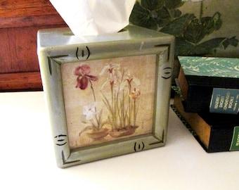 Vintage Chinoiserie Tissue Cover Box, Cheri Blum Art, Faux Bamboo Trim, Guest Room Decor, Vanity Decor, Orchids and Iris Floral Design