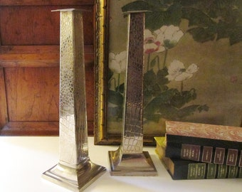 Vintage Tall Silver Plated Faux Croc Pattern Candlesticks, Hollywood Regency Candleholders, Mantel Decor