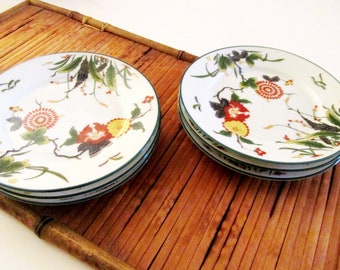 """Six Vintage Puiforcat Limoges Plates, """"Tan Yu"""", Bread and Butter Plates, Small Bite Plates, Chinoiserie Chic"""