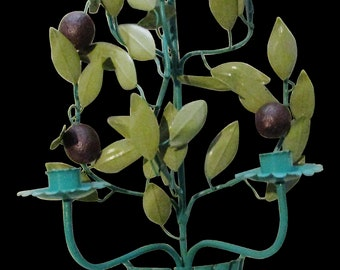 Vintage Italian Tole Wall Sconce, Plum Fruit, Teal Blue Metal Two Arm Wall Candleholder, Hollywood Regency
