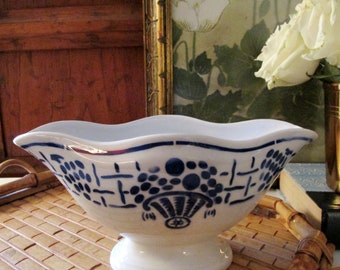 Vintage French Blue and White Sauce Boat, French Country Kitchen, Farmhouse Decor