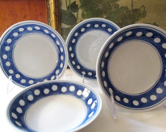 Four Williams-Sonoma Blue And White Bowls, Small Fruit Bowls, Poka Dot Bowls, Farmhouse Kitchen, Shallow Bowls