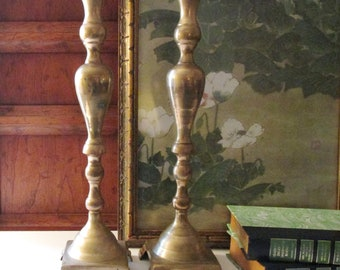 "Vintage Tall Brass Candlesticks, Mantel Decor, Hollywood Regency, Chinoiserie Decor, 17.5""H"