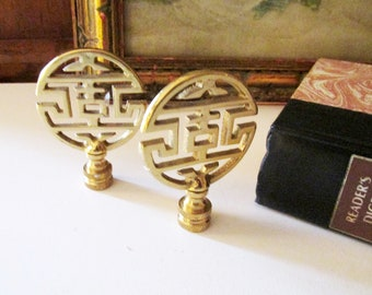 Two Chinoiserie Brass Lamp Finials, Hollywood Regency, Brass Decor, Lamp Accents, Asian Decor