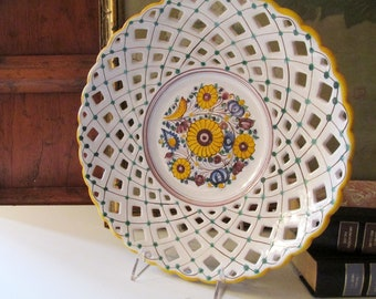 Vintage Potttery Hand Painted Wall Plate, Handmade Modra Ceramics, Slovakia, Reticulated Folk Art Pottery Plate, Decorative Lattice Design
