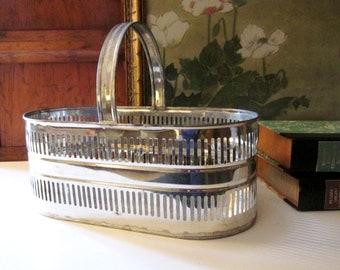 Vintage Paul Blum Tinsmith Basket, Metal Tin Cut-Work Handled Basket, Hand Crafted Tin Metal Basket, USA Made, Farmhouse Basket