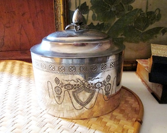 Vintage Silver Plated Engraved Tea Box or Tobacco Box, Neoclassical Biscuit Box, Coffee Container, Trinket Box