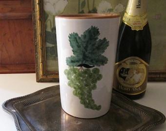 Vintage Italy Hand Painted Wine Cooler, Grape Motif Terracotta Bottle Holder, Alfresco Dining, Vintage Gift