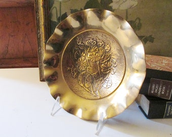 Vintage Brass Trinket Dish, Morning Glory Floral Design Shallow Bowl, Decorative Brass Decor, Brass Catchall