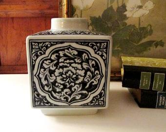 Vintage Celadon And Blue Oriental Vase, Chinoiserie Temple Jar, Hollywood Regency, Asian Decor