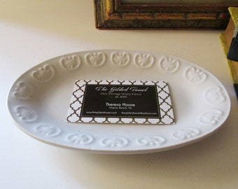 Antique Style Oval Dish By Pottery Barn, Ironstone Catchall, Trinket Tray, Home Office Decor, Farmhouse Chic