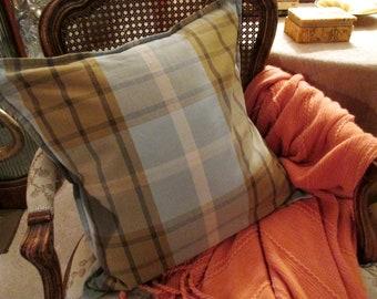 "Vintage Pottery Barn Plaid Pillow Cover, 20"" x 20"", Farmhouse Chic, Autumn Decor, Throw Pillow Cover, Cotton Blue Plaid Pillow Cover"