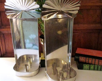 Vintage Tin Reflector Candle Sconces, Pair of Wall Sconces, Tall Farmhouse Chic Silver Metal Sconces