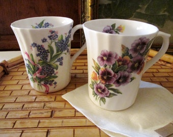 Two Royal Victorian Mugs, Vintage English Floral Mugs, Coffee Mugs, Porcelain Tea Mugs, Vintage Gift, Mother's Day Gift