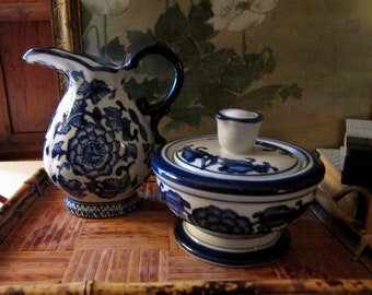 Bombay Company Blue and White Large Sugar Bowl and Creamer, Chinoiserie, Palm Beach Decor,