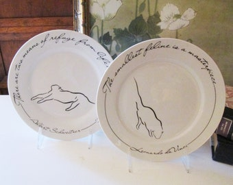 Two Quotable Cat Plates by Liz Ross for The Monkey and the Peddler, Typhography Cat Plate, Leonardo da Vinci Quote , Gift for Cat Lover