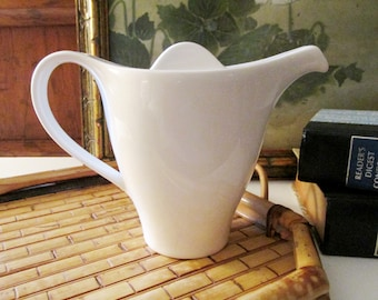 Vintage Villeroy & Boch Dune Teapot, White Porcelain Teapot or Coffeepot For One, Breakfast in Bed, Vintage Gift