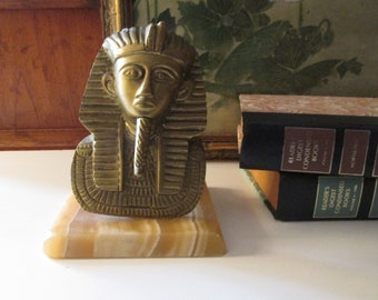 Vintage Egyptian Pharaoh Bust on Marble Base, Sculpture Bust Figurine or Bookend, Bookcase Decor, Library Decor