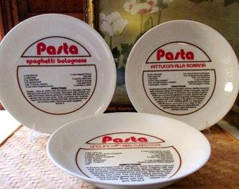 Vintage Taste Setter by Sigma Pasta Bowls, Graptic Gourmet, Spaghetti Bowls, Linguini Plates, Retro Typography, Bistro Kitchen Decor