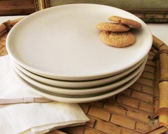 "Four Vintage Homer Laughlin ""Baxter"" Plates, Appetizer Plates, Salad Plates, Hors d'oeuvre, White Ironstone Plates, Baxter Entree Plates"