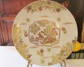Vintage Gold Imari Hand Painted Wall Plate, Japanese Porcelain Decorative Hanging Plate, Chinoiserie Decor