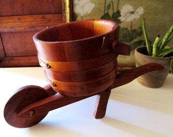 Vintage Wheelbarrow Style Planter, Wooden Planter, Farmhouse Chic Decor, Sunroom Decor, Gift For Gardener