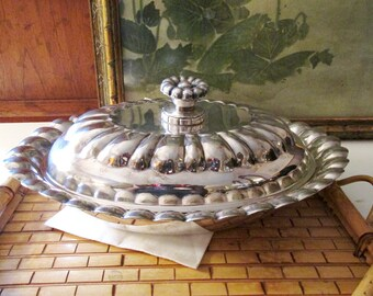 Vintage National Silver Co. Casserole Dish, Silver Vegetable Dish, Silver on Copper Covered Dish, Scalloped Lidded Dish