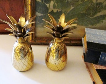 Vintage Brass Pineapple Candle holders, Pair of Brass Pineapple Candlesticks, Hollywood Regency, Thanksgiving Table