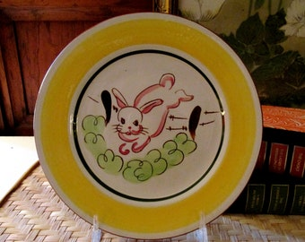 Vintage Stangl Bunny Plate, Kiddie Ware, Barnyard Friend, Kids Dinner Plate, Easter Hand Painted Pottery Plate