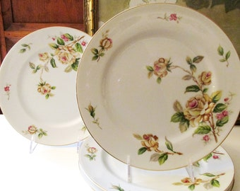Set of Four Golden Rose By Lynmore China, Dinner Plates, Romantic Dinnerware, Yellow Roses, Cottage Roses,