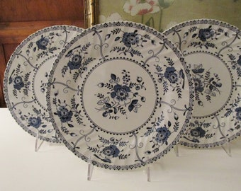 """Three Vintage """"Indies"""" England Johnson Bros Dinner Plates, Blue and White China, Chinoiserie Chic Decor,"""