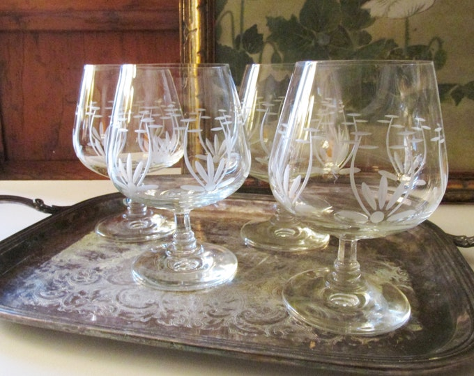 Featured listing image: Vintage Set of Four Brandy Glasses, Etched Glass Cognac Glasses, Bar Cart Decor, Chinoiserie Glassware