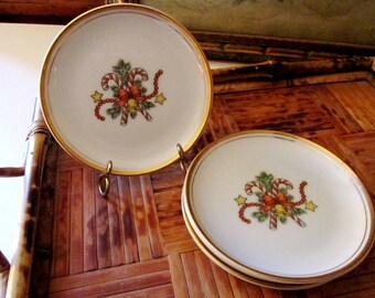 Fitz and Floyd St. Nicholas Coasters, Christmas China, Elegant Christmas Candy Cane Small Plates