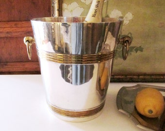 Vintage Champagne Wine Bucket Cooler, Silver and Brass Ice Bucket, Hollywood Regency Bar Ware