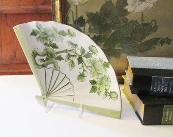 Vintage Chinoiserie Dish, Green and White Fan Shaped Trinket Dish, Palm Beach Decor, Sanford Japan, Porcelain Catchall