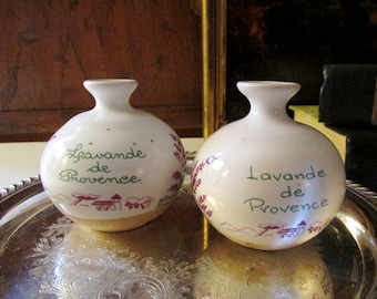 Vintage Set of Two French Pottery Pots, Small Lavender Pots, Leavande de Provence Pots, French Chic, Hand Painted French Pottery