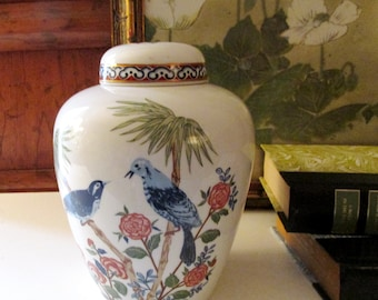 Vintage Taste Setter Sigma Mikado Ginger Jar, Chinoiserie Chic Birds and Flowers Vase, Coffee Table Decor
